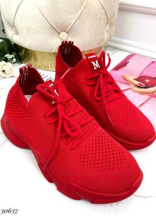 Летние текстильные кроссовки на шнурках
