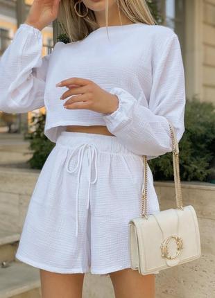 Шикарный белый летний костюм топ и шорты