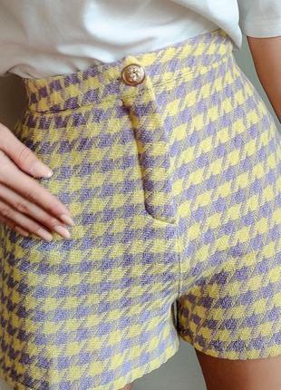 Новые натуральные шорты в гусиную лапку 💛тренд 2021💜 италия. высокая посадка
