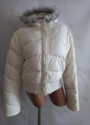 Шикарная теплая белая курточка натуральный пуховик yes or no (франция)