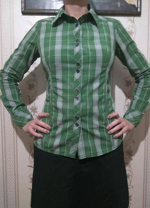 Зеленая рубашка в клетку esprit