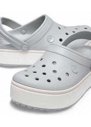 Сабо кроксы crocs platform light grey/rose (серые)