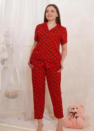 Акция 🔥 хлопковая батал пижама/домашний костюм штаны и рубашка 50-58