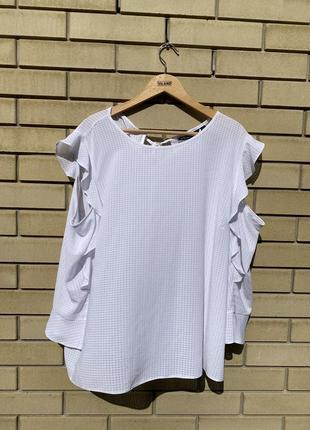 Легкая летняя белая блуза кофта с открытыми плечами батал
