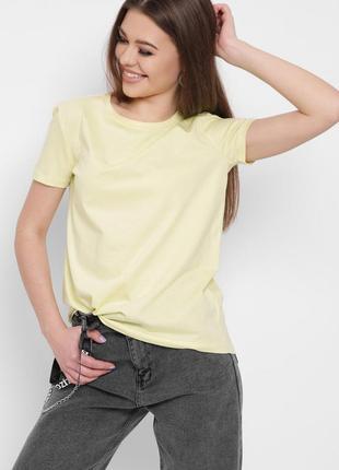 Желтая футболка, футболка из хлопка, базовая футболка, футболка свободного кроя