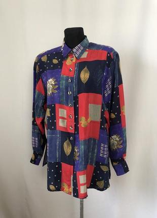 Eterna винтаж рубашка колорблок красный синий купро
