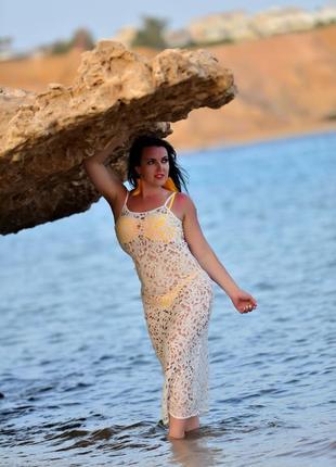 Пляжна сукня парео білого кольору!