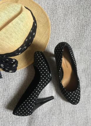 Черные туфли ретро в горошек limited collection- 38р.