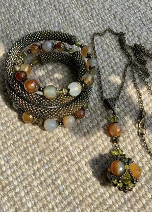 Браслет подвеска натуральный камень бисер осень цепочка кулон цвет бронза