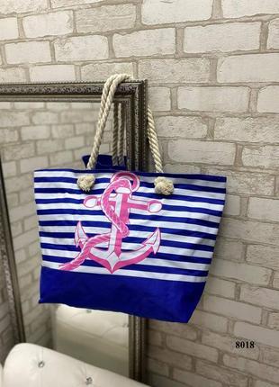 Новая пляжная сумка с розовым якорем
