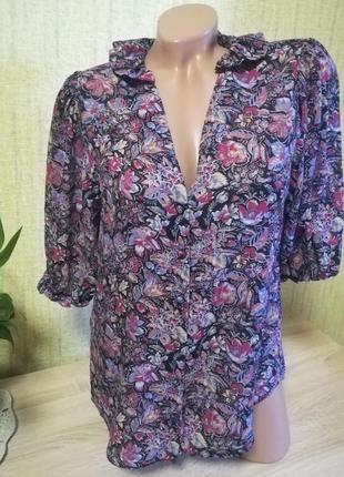Шифоновая блуза в принт вискоза 57%,модал43%