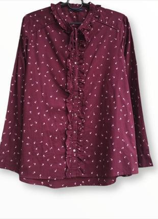 Коттоновая рубашка с воланом,блузка m&s
