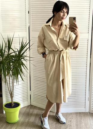 Льняная платье-рубашка люкс-качества