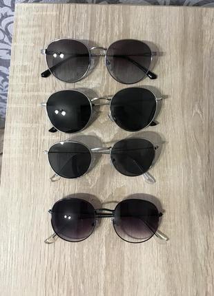 Классические круглые очки черные/серые серебристая оправа