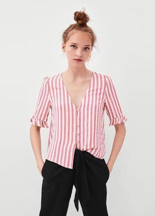 Zara полосатая блуза с рюшем на рукавах