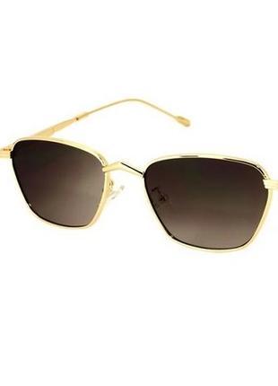 Оригинальные солнцезащитные очки rich person с коричневыми линзами в золотой оправе