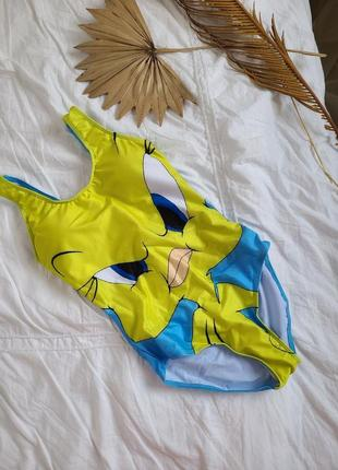 Сплошной купальник мультяшный принт цыпленок желто-голубой