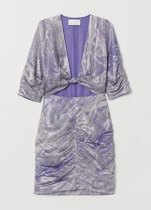 Шёлковое коктейльное платье мини h&m conscious exclusive.