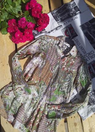Тонкая легкая летняя рубашка разноцветная цветочный принт дорогой бренд оригинал