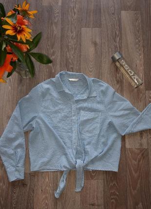 Шикарная легкая рубашка h&m в полоску синяя рубашка легкая накидка хлопковая рубашка