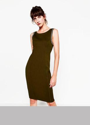Стильное облегающие платье в рубчик zara бандажное платье футляр карандаш коричневое коричнева сукня