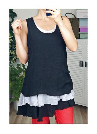 Вискозная удлиненная блузка без рукавов летняя блузка платье вискоза