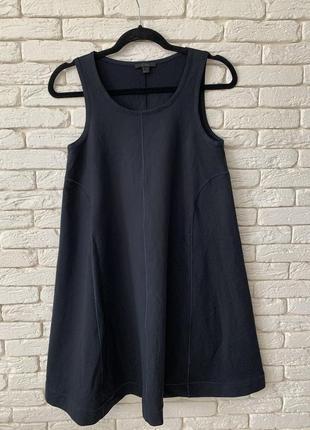 Платье cos a-силуэт отделка без рукавов размер xs темно-синее