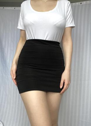 Юбка, мини юбка базовая, обтягивающая, однотонная
