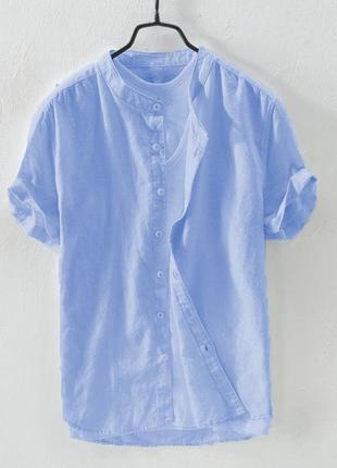 Мужская голубая льняная рубашка с коротким рукавом | 4 цвета