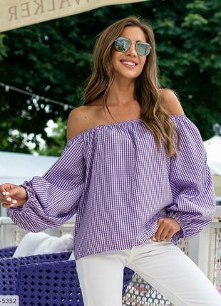 Женская летняя блуза оверсайз с открытыми плечами
