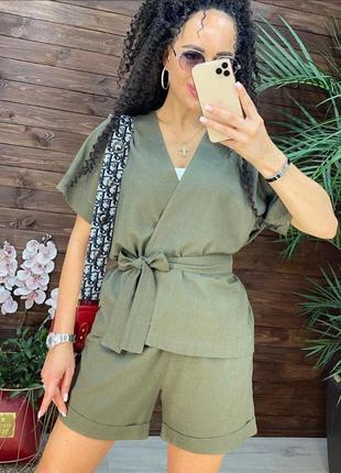 Льняной костюм накидка кимоно под пояс и шорты