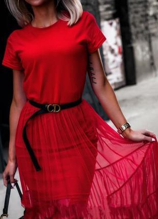 Платье-футболка с сеткой