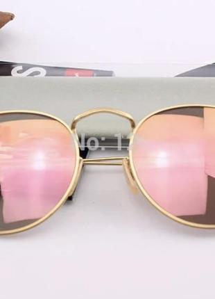Очки ray ban rb 3447 round metal pink/gold