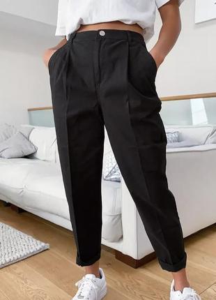 Брюки с защипами zara высокая посадка штаны джогеры
