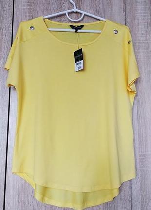 Стильная натуральная желтая футболка футболочка размер 48-50