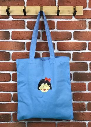 Эко сумка шоппер голубая с девочкой ! распродажа !