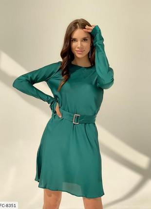 Стильное женское шёлковое платье (изумруд, беж)
