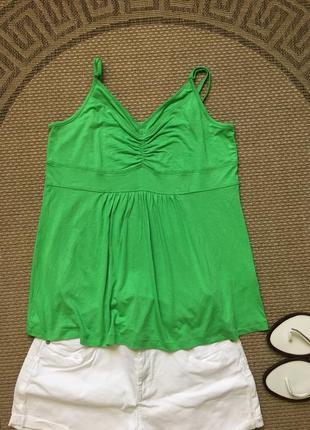 Изумительная зелёная майка футболка туника топик топ cecilia