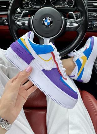 Шикарные женские кроссовки nike air force shadow фиолетовые с синим