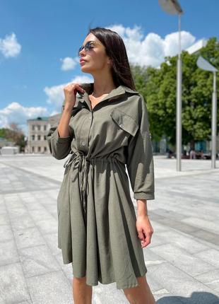 Летнее платье рубашка на пуговицах с карманими под пояс 704912 оливковое3 фото