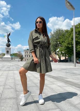 Летнее платье рубашка на пуговицах с карманими под пояс 704912 оливковое