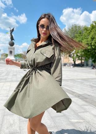 Летнее платье рубашка на пуговицах с карманими под пояс 704912 оливковое2 фото