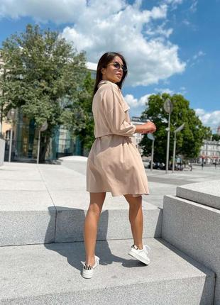 Летнее платье рубашка на пуговицах с карманими под пояс 704912 бежевое3 фото