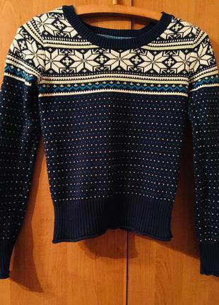 Милый тёплый свитер в скандинавский принт фирмы aeropostale
