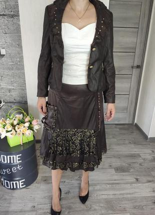 Костюм женский коричневый, юбка и пиджак(2234)