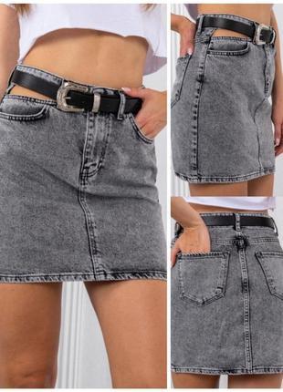 Юбка джинс разрез на талии 💥💋