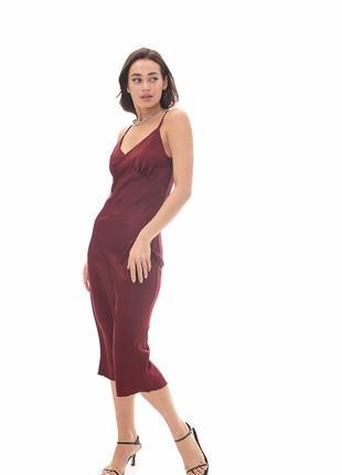 Бордовое платье, платье комбинация , бельевое платье