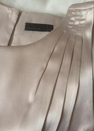 Бежевая шелковая комбинация vero moda с черной вставкой