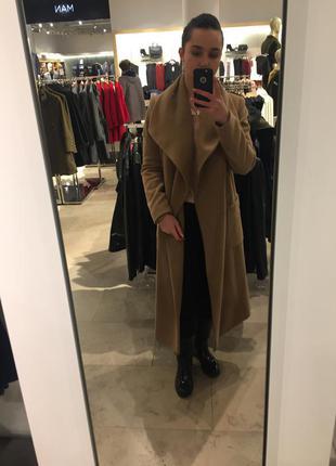 Длинное пальто на запах макси с воротником