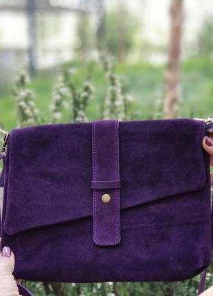 Замшевый фиолетовый клатч eden, италия, цвета в ассортименте